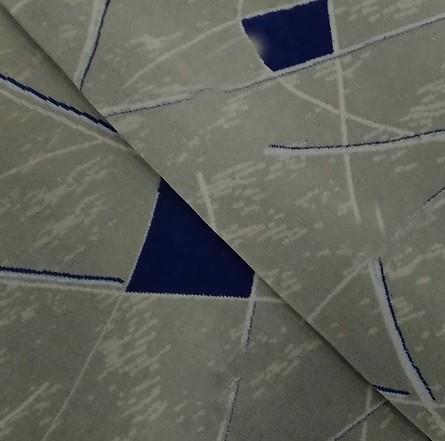 Navalhado Geométrico Cinza / Azul